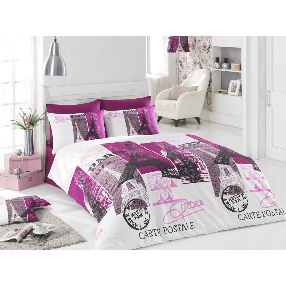 0 cotton 3pcs paris carte postale single twin duvet cover bedding set ebay. Black Bedroom Furniture Sets. Home Design Ideas