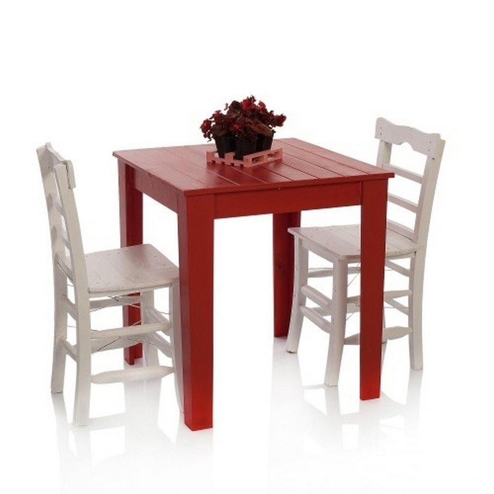 tahtasandalye tahta masa sandalye seti 2 kişilik kırmızı / beyaz