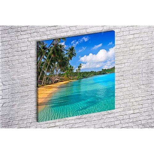 Albitablo Kanvas Tablo Palmiye Agaci Kumsal Ve Deniz Kare 50x50