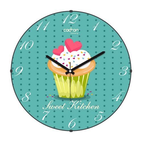 Cadran Luxury Sweet Kitchen Bombeli Cam Duvar Saati Cupcake-3