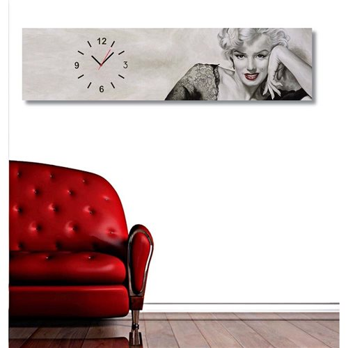 Tictac Marilyn Panoramik Kanvas Tablo Saat (100x25) Ts2-18